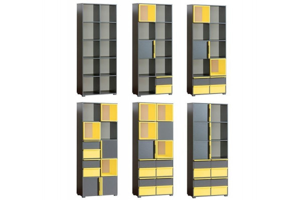 Bookcase CUBICO CU9 With Anthracite / Yellow Extensions