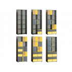 Bookcase CUBICO CU9 With Anthracite Yellow Extensions