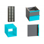 Bookcase CUBICO CU9 With Anthracite / Turquoise Extensions
