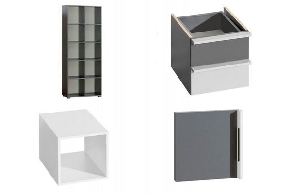 Bookcase CUBICO CU9 With Anthracite/Aluminum Extensions