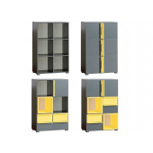 Bookcase CUBICO CU13 With Anthracite / Yellow Extensions