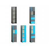 Bookcase CUBICO CU14 With Anthracite / Turquoise Extensions
