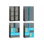 Bookcase Cubicu With Anthracite Turquoise Extensions