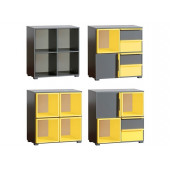 Bookcase Cubico With Anthracite / Yellow Extensions