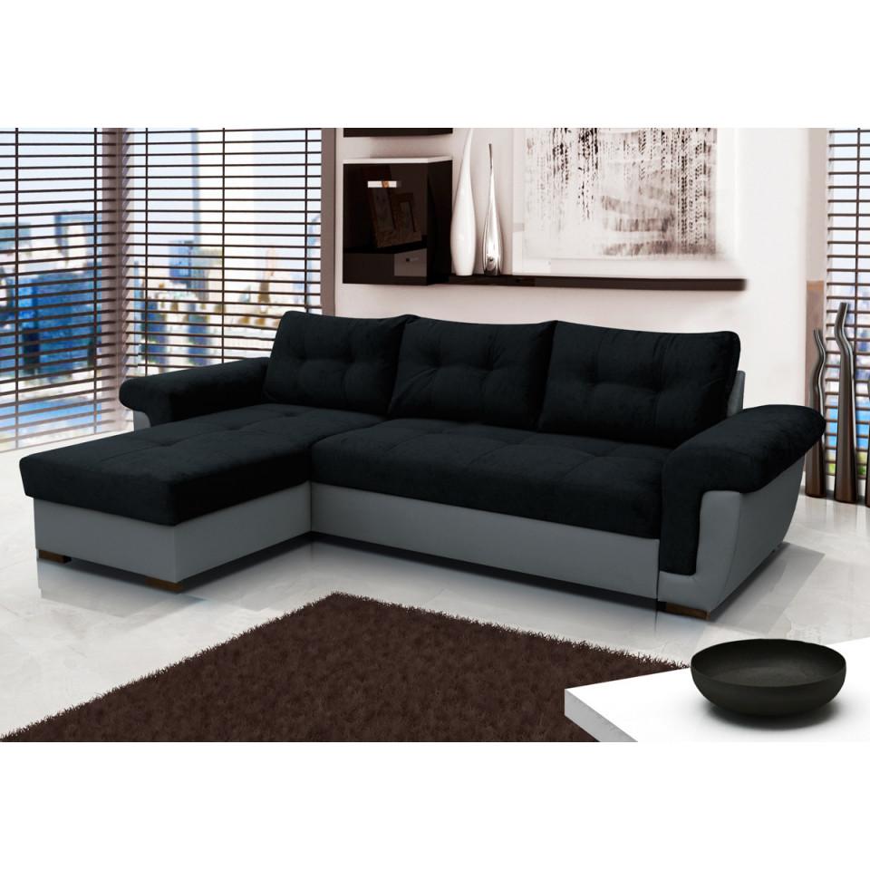 Cheap black corner sofa Amber - SofaFox