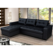 Leather Sofa Beds - ONYX - Black Leather Corner Sofa...