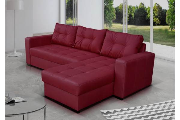 burgundy leather corner sofa bed