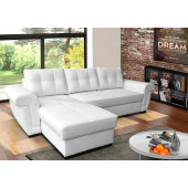 Leather Sofa Beds - AMBER - white PU leather corner...