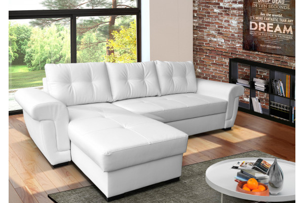 AMBER - white PU leather corner sofa bed