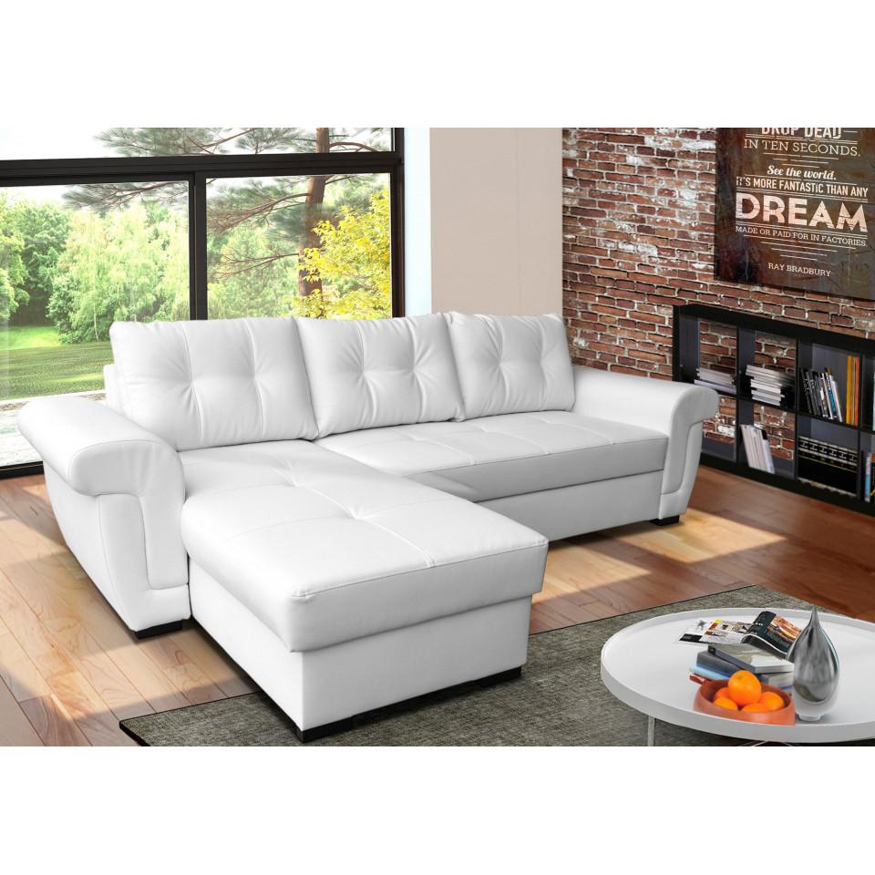 corner sofa bed white leather   SofaFox