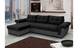 AMBER - black corner sofa bed