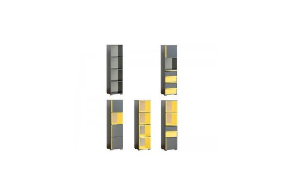 Bookcase CUBICO CU14 With Anthracite / Yellow Extensions